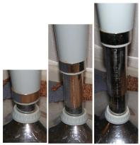Three examples of pneumatic table height adjustment