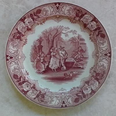 front of plate