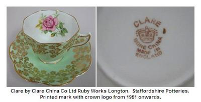 Tea Set made by 'Clare'  - Clare China Co. Ltd. based at Ruby Works, Longton  - printed with crown logo mark from 1951 onwards.
