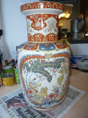 Antique China Mysterious X Mark On Large Oriental Vase