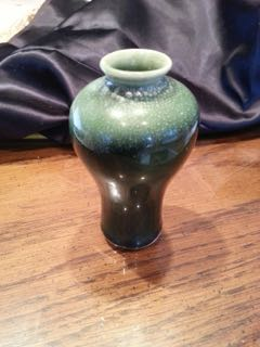 Art Pottery Vase With Large Brown stamp circle and shaped rectangles