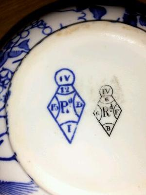 bottom - Blue & White pot  with TWO diamond registration marks