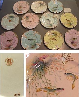 Hand-painted  'Bodley' (not Booley) Plates c1880 - 1890