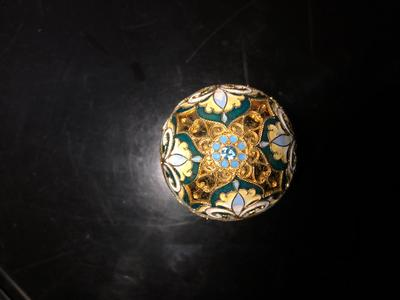 Bottom with blue stone - Russian silver and cloisonne enameled egg