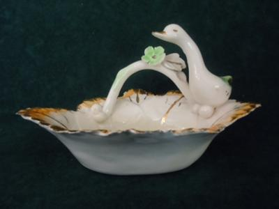 Ceramic/Porcelain Bowl with Duck Figure - Pottery mark of triangle with letters N P 3 on outside Hand Painted Italy