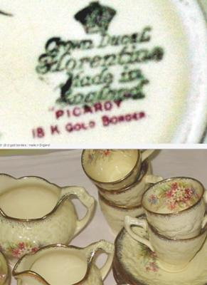 Crown Ducal Pottery Mark - Florentine Picardy