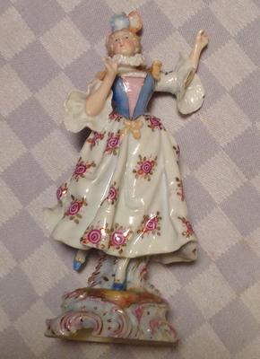 matching pair female dancing antique figurine