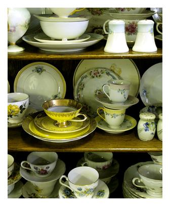 english china on shelves