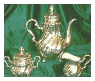 Bavarian Porcelain Set for Coffee or Tea in Silver Overlay