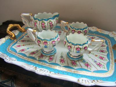 gorgeous fluted blue and pink pretty tea set with tray
