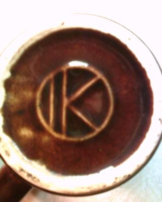 IK Within a Circle Mark on  Art Pottery Drip Mugs