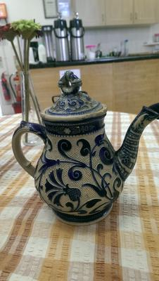 Interesting blue and white arts and crafts aesthetic style teapot Mystery