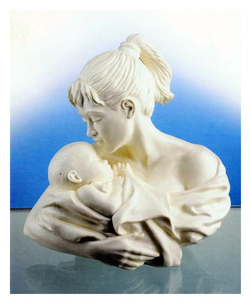 Mother Child Bust, bone china