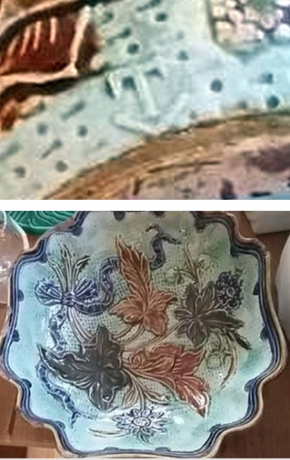 majolica-scalloped-dish-bee-floral