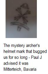 Mystery mark with archer's helmet, 6 crossed arrows and a cup