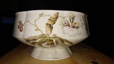 fluted fine china (porcelain?) bowl painted with orchids
