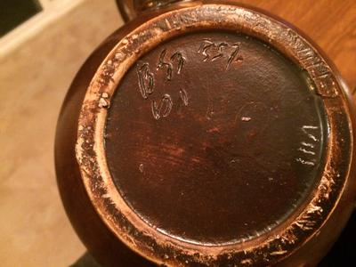 Old Round Brown pottery bowl with B57 mark on base