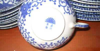 Rising sun mark blue & white tea-set Japan