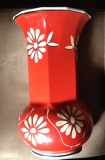 12 inches tall  P OR R in a Wreath Marking on a red vase with white flowers