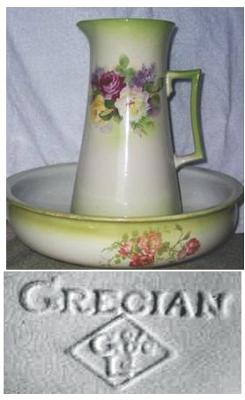 Pitcher and Basin-Pottery Mark 'Grecian GL'