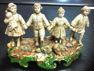 Porcelain Mark Backtamp  on Figural Group of Skipping Children - Crown above shield with B (or Sv) over  Letter M