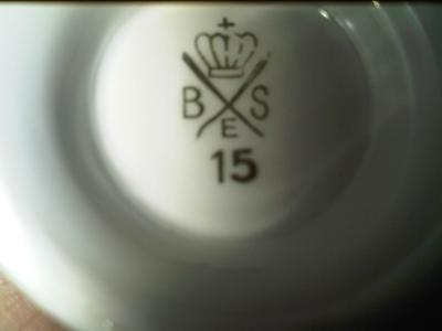 One of the marks - Porcelain Mark Query - Crown above crossed lines with B S E - How Can We Date this backstamp?