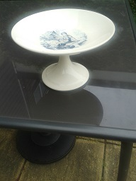 Pottery Cake Stand with Girl & Dog image