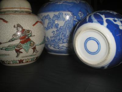 Pottery mark query  blue circles and Oriental Writing in Red