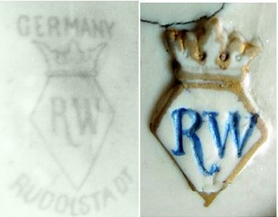 Royal(?) Rudolstadt Blue 'R W' Initials Within a Diamond Shaped Shield Pottery Mark with Crown Above