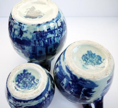 Set of 3 Blue and White Heavy Pottery Pitchers, illegible mark looks like 2 lions rampant or lion & unicorn