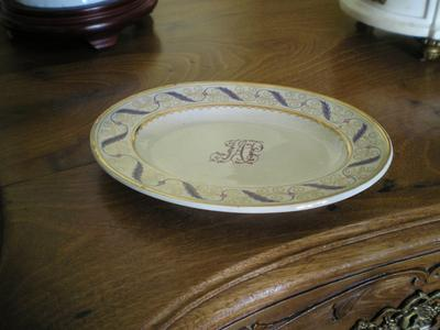 Six petaled flower impressed mark on very old family tableware service featuring neat hand insignia decoration