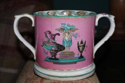 T ? something ? & Co Faint Maker's Mark on Large Loving Cup