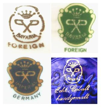 Porzellanmalerei Parbus<br>Bavarian Porcelain  Decorators 1904 - c2005<br><br><small><i>Pictures Courtesy of www.porcelainmarksandmore.com</i></small>