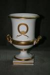 White and gold urn - back