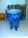 Masons Ironstone or Regency Ironstone? - 3 footed, faux handled 'blue & white' glazed pot