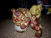 Japanese Ornate Oriental Red & Yellow Foo Dog (lion)