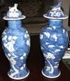 Set of 4 Blue Oriental characters on two similar blue jars