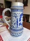 Ornate Stoneware Stein Pitcher with triangle Mark
