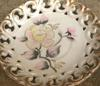 horses head pottery mark on floral pattern reticulated dish