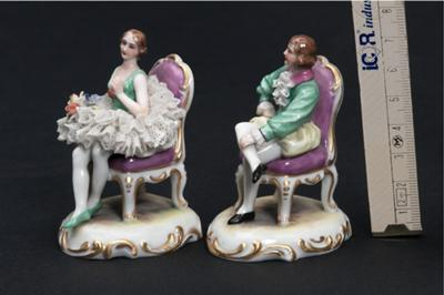 Two little porcelain figurines that SURVIVED WW2 - PMR Thuringia with Star Mark