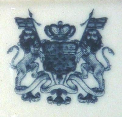 Unidentified coat of arms pottery mark with two lions rampant