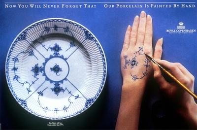 Royal Copenhagen print ad showing a Fluted Blue Half-Lace plate