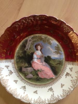 2 items - A Vienna Style Plate with black & gold pottery mark, and cup with an H and duck OR chicken backstamp