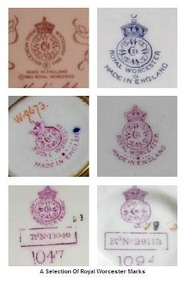 Antique Bone China Answers To Royal Worcester Backstamp Question  - a selection of Royal Worcester Marks