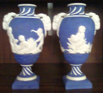 Blue & White Painted Bas Relief Vases