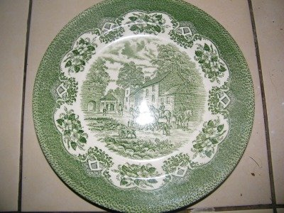 Antique or Fine China english ironstone green /white patterned plate