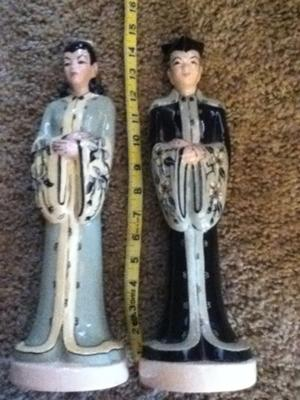 Antique Vintage China Collectible Japanese Figurines - Pair of Male & Female 14