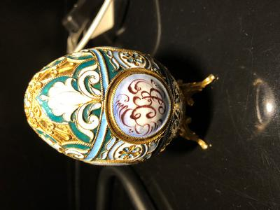 with XB written Russian silver and cloisonne enameled egg