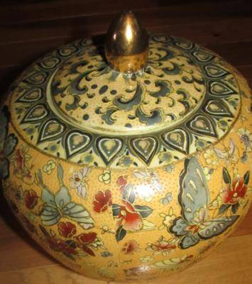 Chinese Gold Embossed Hand Painted Urn With Red Diamond Made In