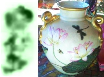 Crown over blurry green mark on snake handled vase Query